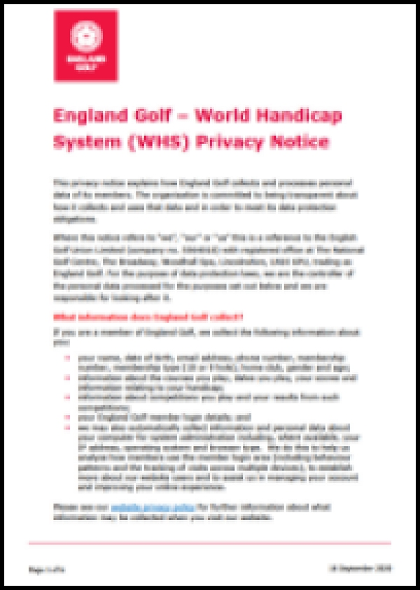 England Golf World Handicap System (WHS)